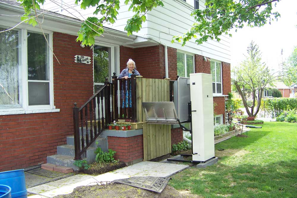 adjacent porch left residential lift lifts freedom home for wheelchair homes